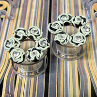 Rose Wreath Tunnel Plugs in Ivory and black with crystals. Handmade Gauges Acrylic Ear Expander Unique antique look!