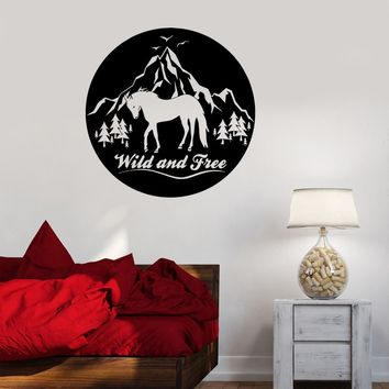 Wall Decal Wild And Free Horse Mountains Birds Nature Animals Vinyl Sticker (ed1198)