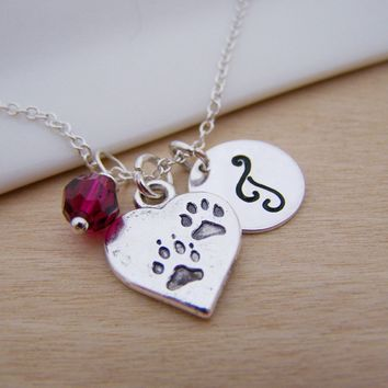 Paw Print Heart Pet Memory Charm Swarovski Birthstone Initial Personalized Sterling Silver Necklace / Gift for Her