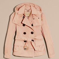 Showerproof Taffeta Trench Jacket with Detachable Hood Chalk Pink