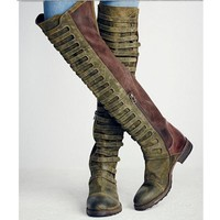 Faux Suede Gladiator Retro Army Boots Over The Knee For Women