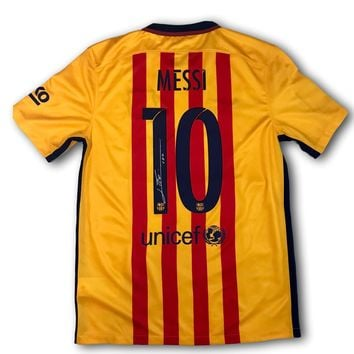 LIONEL MESSI SIGNED 2015 BARCELONA AWAY JERSEY LEO ICONS COA SHIRT AUTOGRAPH