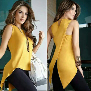 Summer Blouse 2017 Women Yelloe Shirt Asymmetry Fashion Sleeveless Long Solid Yellow Color O-neck Women Blouse Casual Shirt