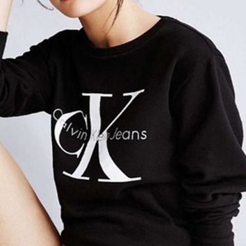Calvin Klein Women Fashion Print Long Sleeve Top Sweater Pullover