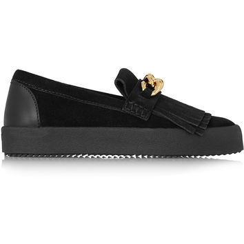Giuseppe Zanotti - Chain-embellished suede loafers