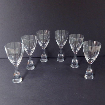 Royal Holmegaard Wine Glasses, Princess Pattern. Air Bubble Stem, Set of Six