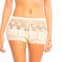 Tiare Hawaii Crochet Beach Shorts Tan