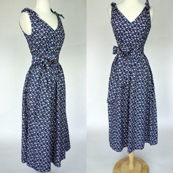 1990s floral peasant dress, cotton summer spring J. Crew country dress, fit and flare, Small, US 6
