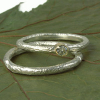 Moissanite, Gold, and Sterling Silver  Organic Engagement Ring - Made to Order
