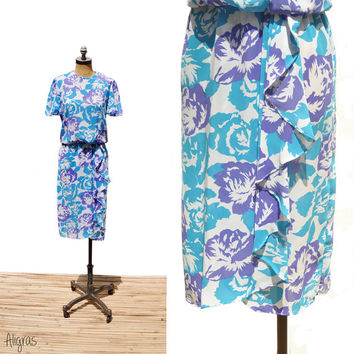 Vintage Floral Dress • 1970s Purple and Blue • Tulip Skirt With Ruffle • Butterfly Sleeves • Small Medium