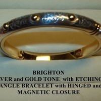 BRIGHTON SILVER & GOLDTONE BRACELET with ETCHINGS