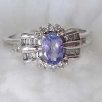 10K solid white Gold vintage Tanzanite and diamonds engagement wedding ring halo