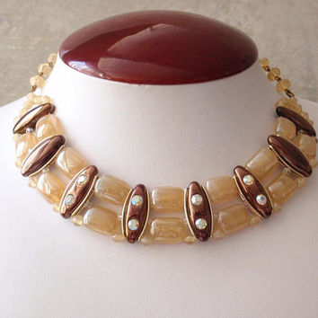 Glass Choker Necklace Western Germany Iridescent Yellow Copper Vintage V0403