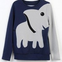 A071023 bb Fun elephant pattern long-sleeved pullover sweater leisure from Eternal