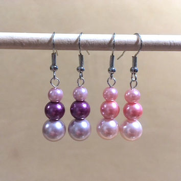 Graduated Tri-color Pearl Dangle Earrings, Handmade Original Fashion Jewelry, Classic Simple Elegant Custom Wedding, Unique Ladies Gift Idea