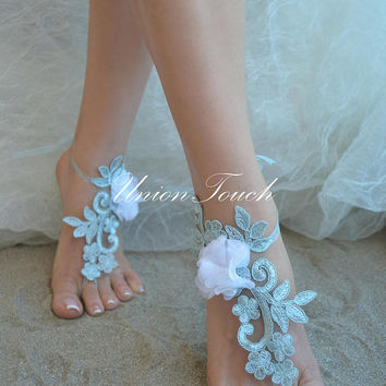 Free Ship royal blue sandals, lace sandal, beach wedding barefoot sandals, barefoot sandals, lace barefoot sandals, beach lace wedding shoes