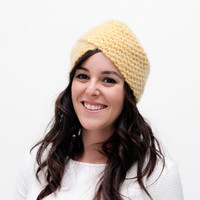 Elspeth - Hand knitted mustard hair turban