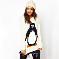 PENGUIN SWEATER-WHITE