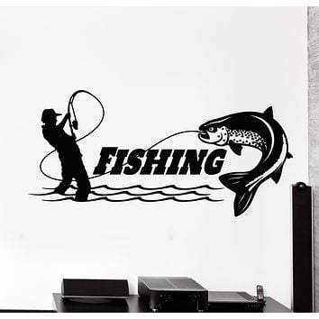 Vinyl Wall Decal Fishing Club Catch Fish Rod Fisherman Store Stickers Mural (g2569)