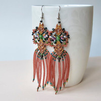 Bohemian fringe macrame earrings, green brown, seed bead jewelry, bohemian earrings, unique, sparkly earrings, free spirit