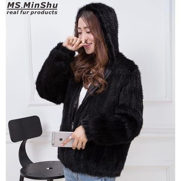 MS.MinShu Hand Knitted Genuine Mink Fur Coat Women Fur Jacket Winter Hooded Jacket 100% Real Mink Fur Free Shipping