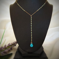 Turquoise Lariat Necklace - Pendant - Gold Necklace - Blue Stone - Crystal - Rosary Chain - Blue Apatite - Turquoise Drop