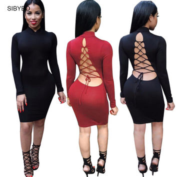 Vestidos 2016 Women Party Dresses Cotton Stretch  Long Sleeve Sexy Club Winter Dress Bodycon Bandage Dress