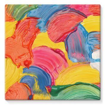 Multicolored Wet Paint Swirls Stretched Canvas