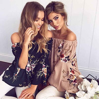 Sexy Off Shoulder Chiffon Blouse Ruffles Shirt Women Top Floral Print Shirt Flare Sleeve Blouse Summer Loose Blusas Tops White
