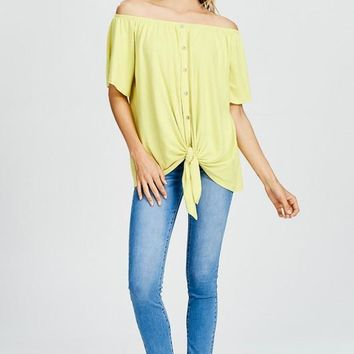 Off Shoulder Striped Top - Lemon