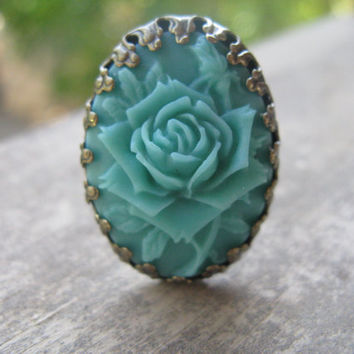 Turquoise cabochon ring,antique bronze cabochon ring