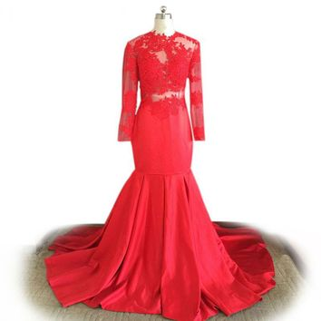 Red prom dress Long Sleeve Mermaid Evening Gowns Lace Applique High Neck Sweep Train Elegant Prom Dresses