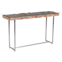 Collage Console Table Brushed Stainless Steel