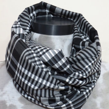 Men Scarf checkered pattern checkers, White and Black ekose fabric scarf,Men scarf, Men, Man, Guys, Personalized Men Scarf, Fabric