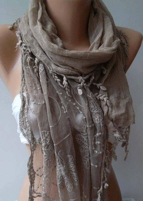 Stone Color -- Elegance Shawl / Scarf with Lace Edge