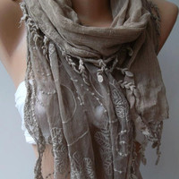 ON SALE/Stone Color -- Elegance Shawl / Scarf with Lace Edge-