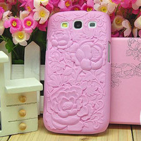 3D Embossing rose case for Samsung Galaxy S3 i9300 by onfancy