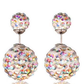 Vintage Pavé Crystal Double Stud Earrings