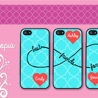 3 iPhone 5/5S, iPhone 5c, iPhone 4 4s, Samsung Galaxy S3 S4 monogram mint blue quatrefoil pattern best friends forever infinity 8 BFF cases