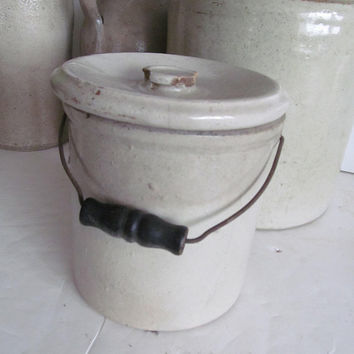 Stoneware Crock with metal handle Black wood handle Stoneware Jug Antique Primitive Farmhouse Decor Stoneware Crock with Lid