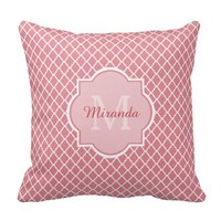 Modern Monogram Pink White Quatrefoil With Name Throw Pillow