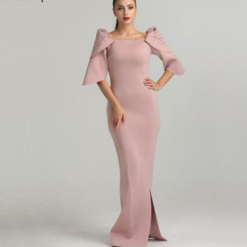 Dubai Style Mermaid  Pink Half Sleeves Evening Dresses Fashion Elegant Beading  Formal Evening Gowns Serene Hill LA6415