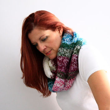 Infinity scarf purple green white cable knit winter fashion, Myrto, vegan friendly