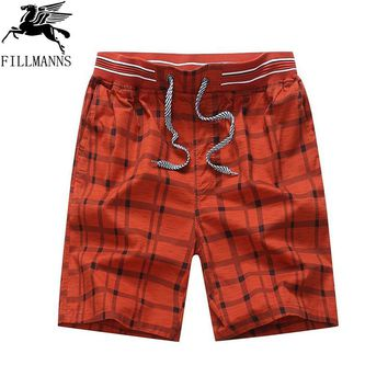 FILLMANNS Hot 2017 Summer Men Plaid Shorts Classic Design Cotton Casual Beach Short Pants Brand Famous Shorts Plus Size 4XL