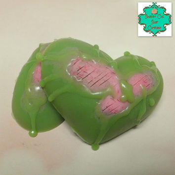 Eat Your Heart Out soap bars - Set of 2 - Zombie soap, Zombie hearts, Anti-Valentines, Anti-Valentine's Day, Shea Butter soap, Handmade soap