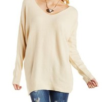 Cream Crisscross Back Slouchy Tunic Sweater by Charlotte Russe