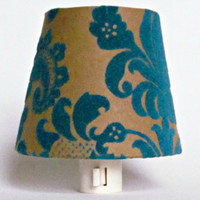 Brown and Blue Night Light, Brown Paper with Blue Velvet Floral Pattern Lamp Shade Night Lights, Master Bedroom Decor, Handmade in Maine