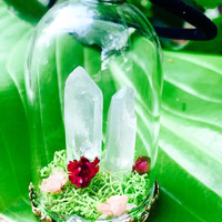 Quartz Crystal Terrarium Necklace, Clear Quartz Point, Real Moss Necklace, Terrarium Pendant, Quartz Terrarium, Quartz Necklace