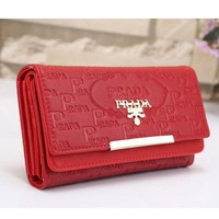 Prada Women Leather Buckle Wallet Purse Red I-MYJSY-BB