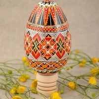 Large handmade painted goose egg for Easter home decor